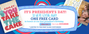 free card from cardstore for president's day