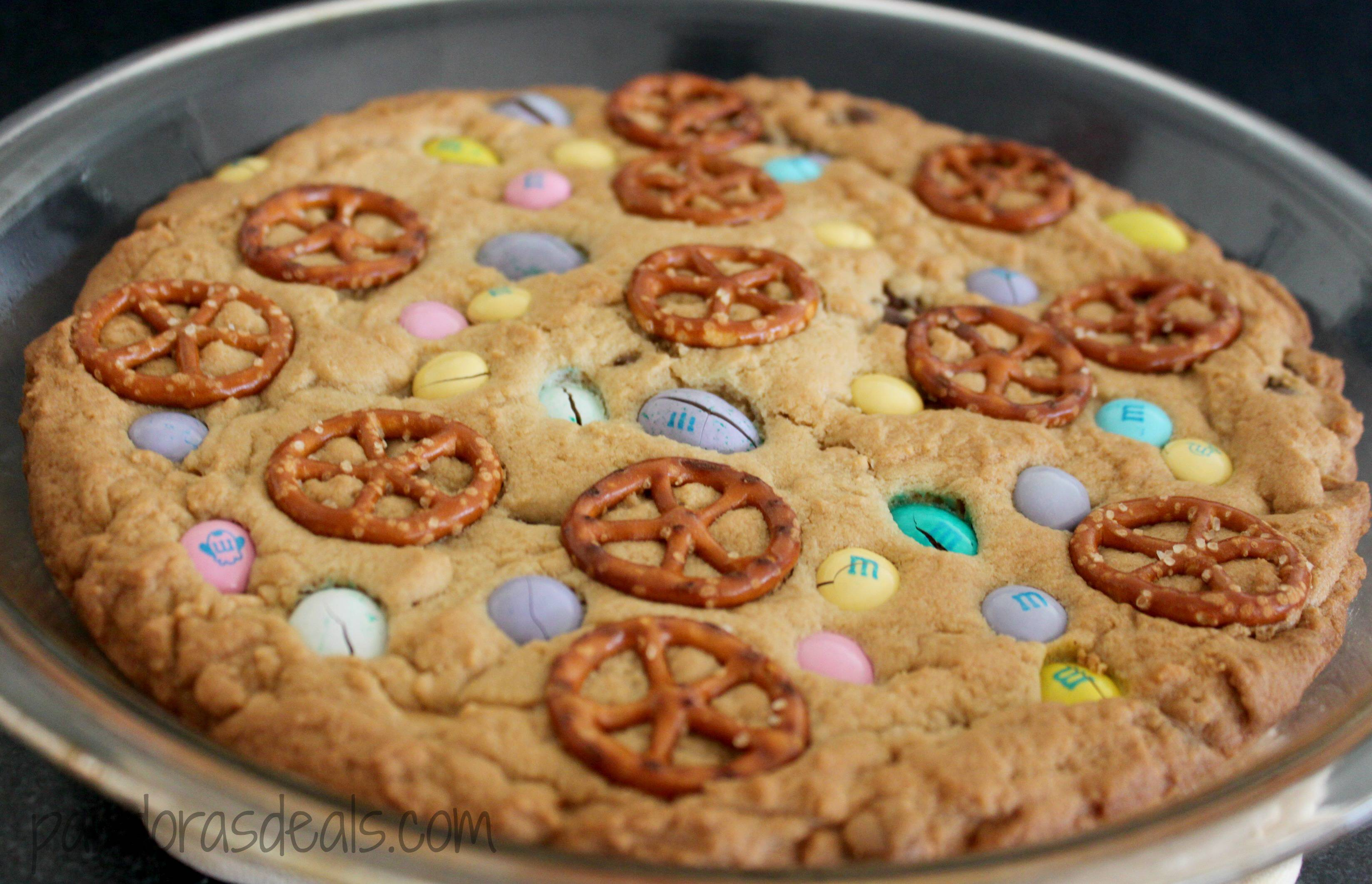 My kids absolutely love this recipe! I love it too because it's so easy. Here's the directions to make this tasty and pretty Easter Cookie Pie. Enjoy!