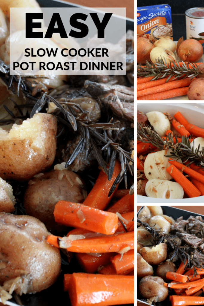 This Easy Slow Cooker Pot Roast Dinner is perfect for a cold fall or winter day. So easy to make and delicious with meat, potatoes, and veggies. Yum!