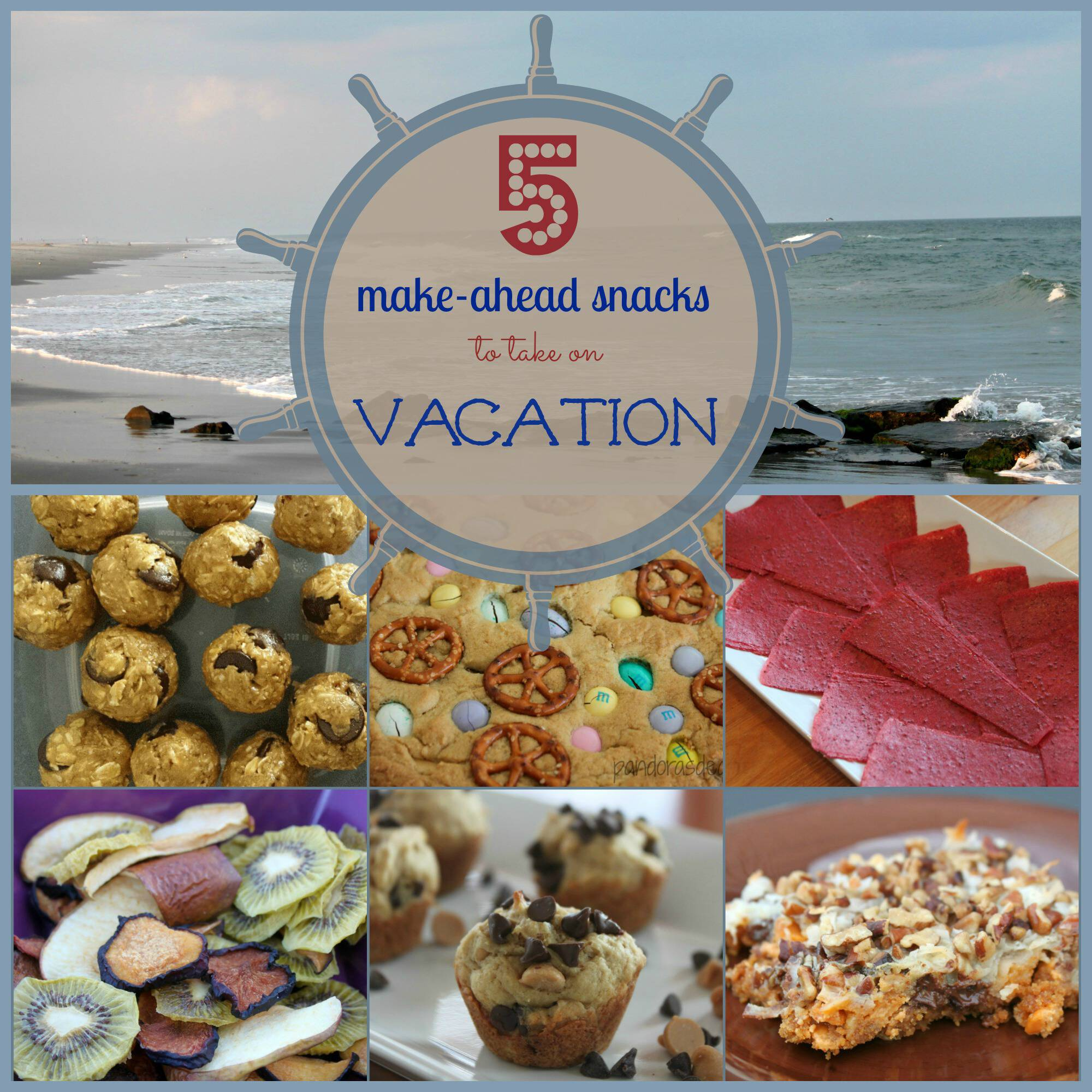 Taking your own food is a great way to save on family trips. Here are 5 snacks to take on vacation with you. They're easy to make and soooo good!