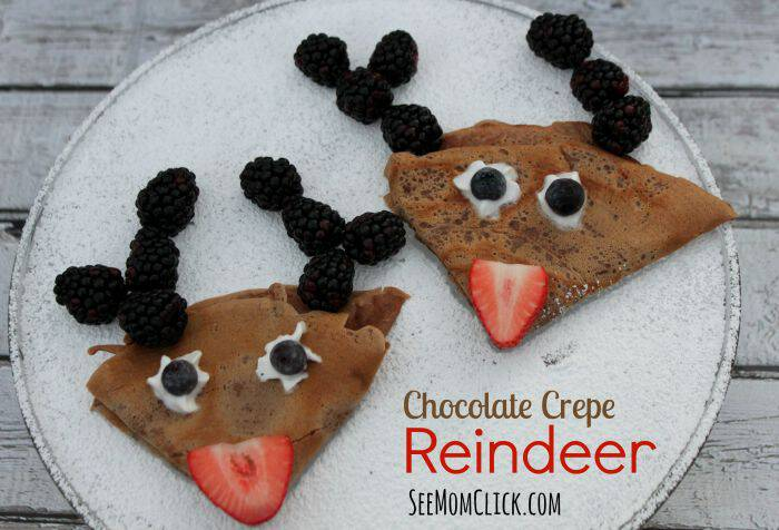 Here's a fun treat for the kids for the holidays! These adorable Chocolate Crepe Reindeer are so easy to make and were a perfect for Christmas breakfast.