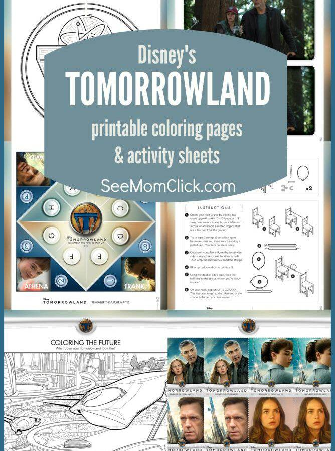 Disney's TOMORROWLAND is an awesome sci-fi hit in the theaters! I have a bunch of TOMORROWLAND coloring pages and printable activity sheets for the kids!