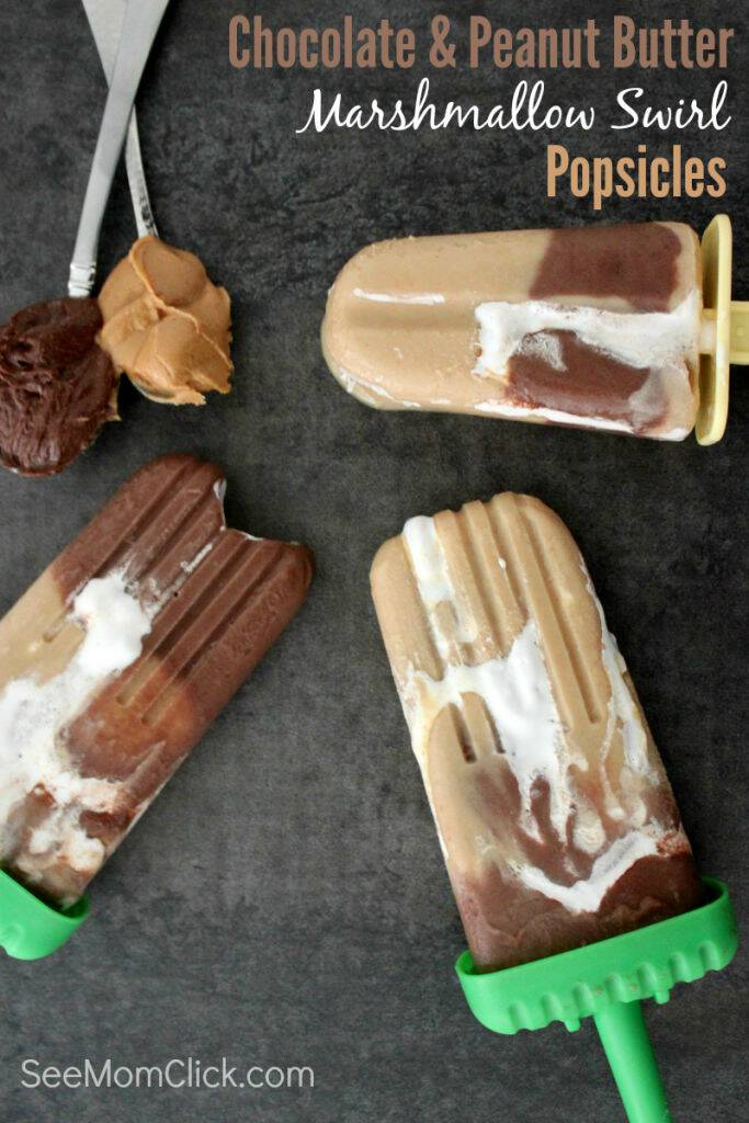Talk about an indulgent summer treat! These Chocolate and Peanut Butter Marshmallow Swirl Popsicles are an amazingly good dessert recipe everyone will love!
