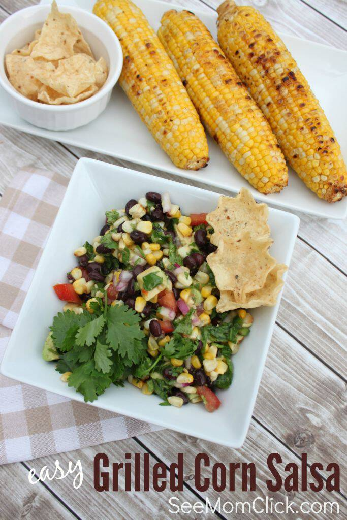 Grilled corn on the cob is one of our favorite summer recipes. Throw on a couple of extra ears to make this tasty Easy Grilled Corn Salsa appetizer recipe!