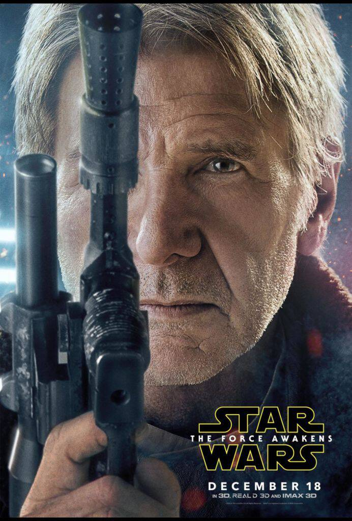 Check out the incredible new STAR WARS: THE FORCE AWAKENS character posters. Han Solo is back, baby! In theaters on December 18, tickets available now!