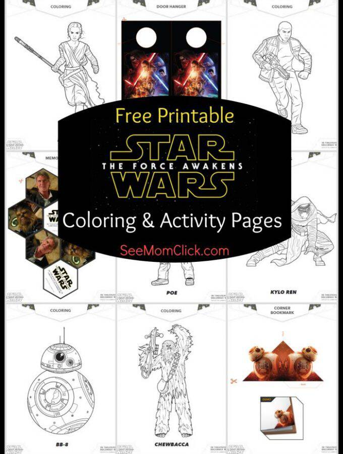 Grab your free printable STAR WARS: THE FORCE AWAKENS coloring pages and activity sheets. Rey, Finn, BB-8, Chewie, Kylo Ren and more!