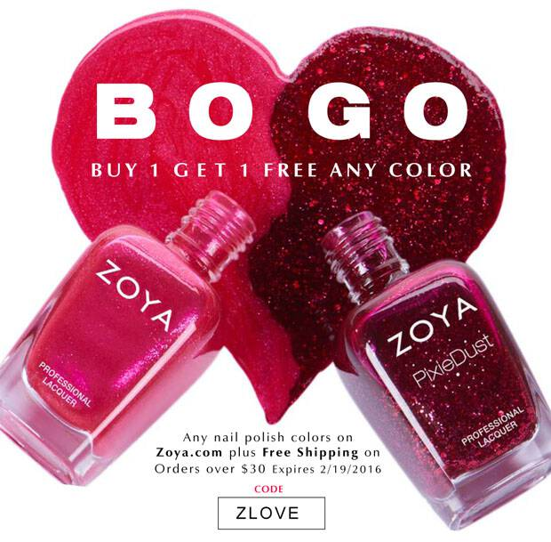 Use this code to score BOGO Zoya Nail Polish and orders of $30 or more will ship for free, too! This is my FAVORITE polish evah!