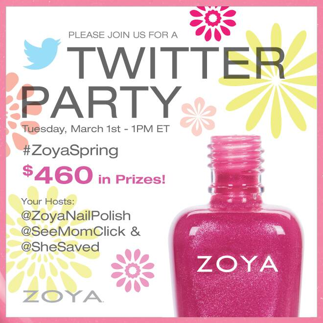 Join us with our sponsor Zoya for the #ZoyaSpring Twitter Party on March 1 at 1pm ET for your chance to win!