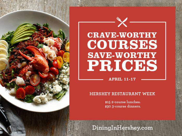 Let's Eat! Hershey Restaurant Week is April 11-17, 2016. Choose from 9 different restaurants to enjoy special lunch and dinner selections.