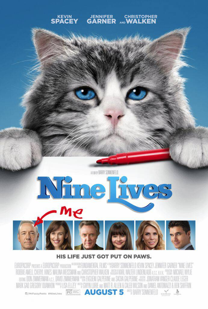 The new NINE LIVES movie trailer is hilarious and features a star-studded cast. And a cat - Mr. Fuzzypants! This family film hits theaters August 5, 2016.