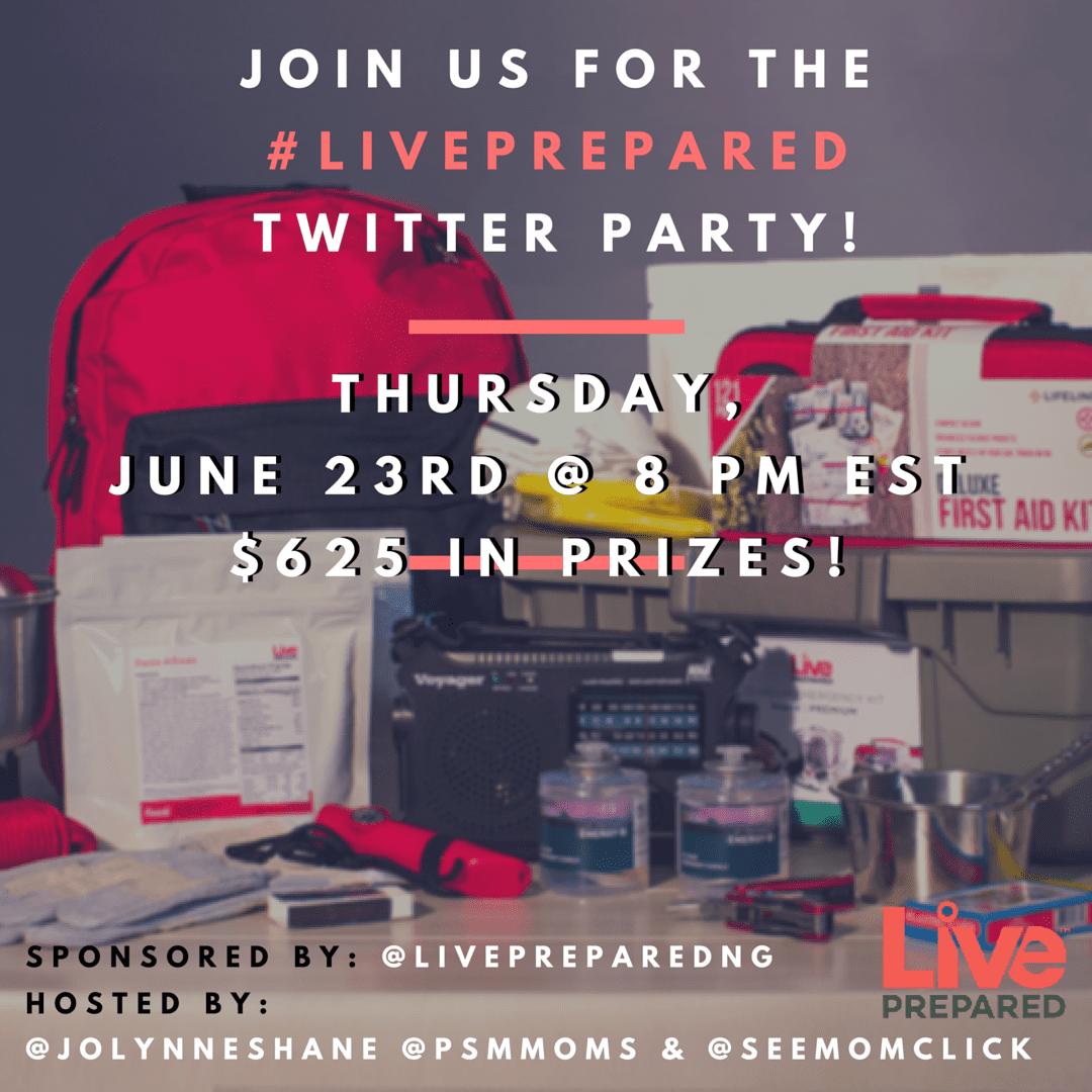 RSVP here for the #LivePrepared Twitter Party at 8pm ET on June 23. We're chatting about the peace of mind that comes from being prepared for an emergency.