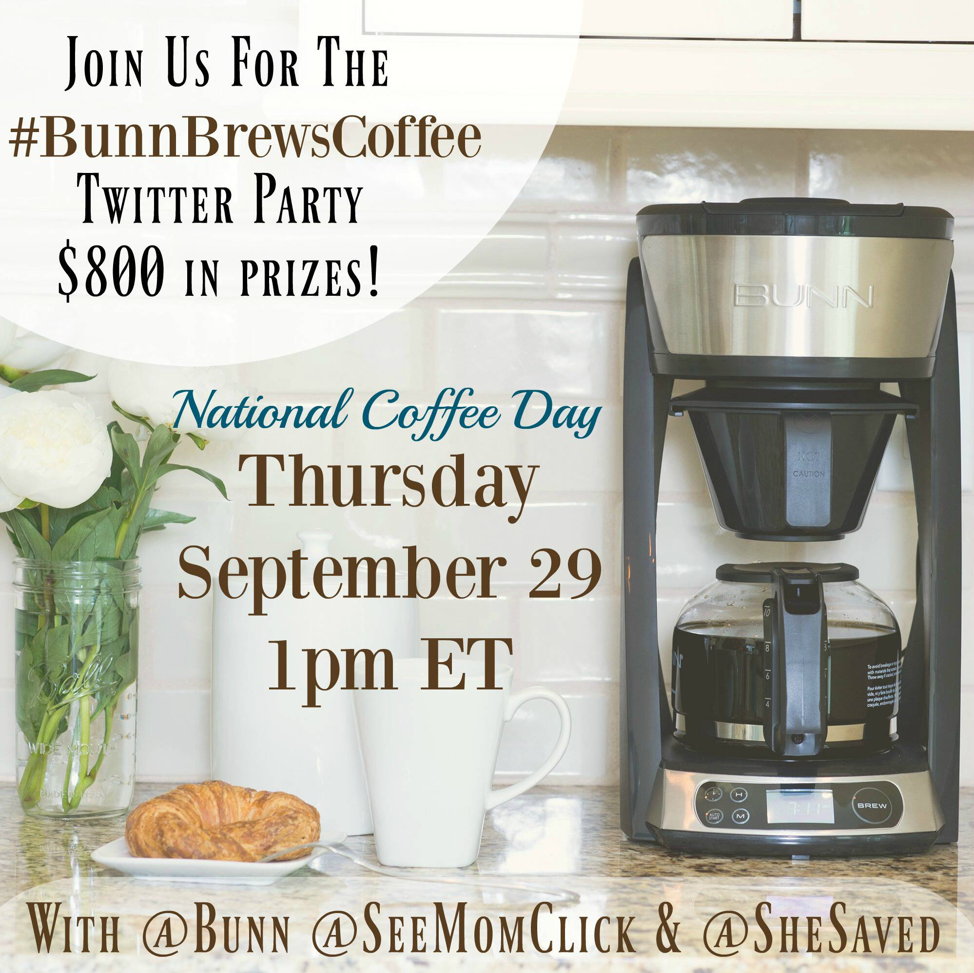 RSVP here for the #BunnBrewsCoffee Twitter Party at 1pm ET on September 29. We're going to celebrate National Coffee Day with $800 in prizes!