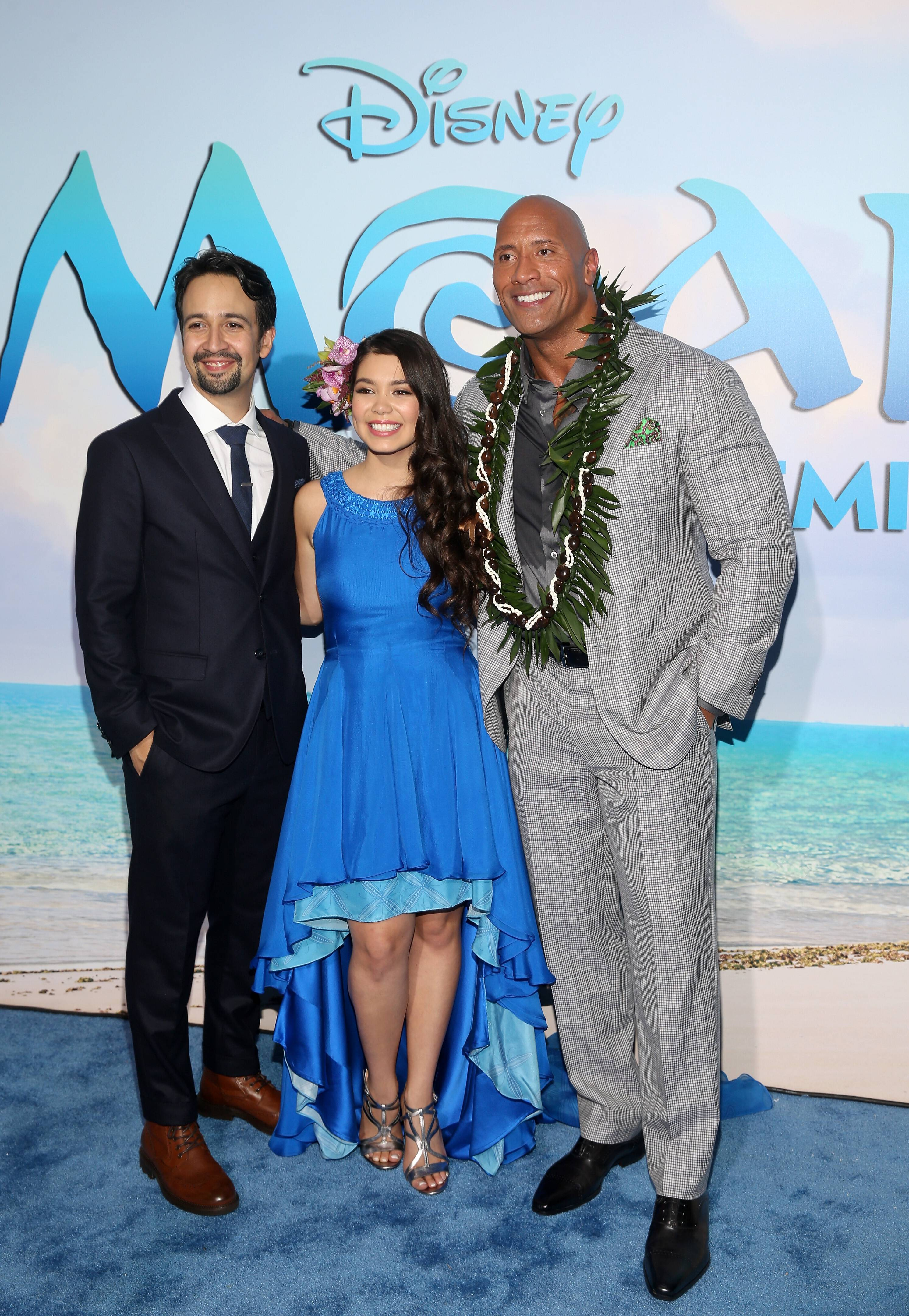 "HOLLYWOOD, CA - NOVEMBER 14: (L-R) Songwriter Lin-Manuel Miranda, actors Auli'i Cravalho and Dwayne Johnson attend The World Premiere of Disney's ""MOANA"" at the El Capitan Theatre on Monday, November 14, 2016 in Hollywood, CA. (Photo by Jesse Grant/Getty Images for Disney) *** Local Caption *** Auli'i Cravalho; Dwayne Johnson; Lin-Manuel Miranda"
