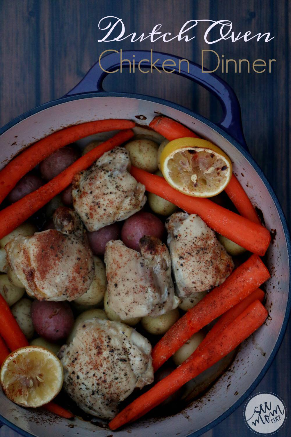 Looking for EASY Dutch Oven recipes? This Dutch Oven Chicken Dinner recipe is our family favorite. One pot meals are such easy dinner recipes and this one is fast and delicious!