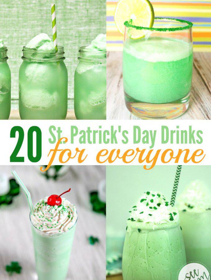 The toast at your St. Patrick's Day party will be extra fun with some of these St. Patrick's Day drinks for everyone! Milkshakes, smoothies, and more. Cheers!