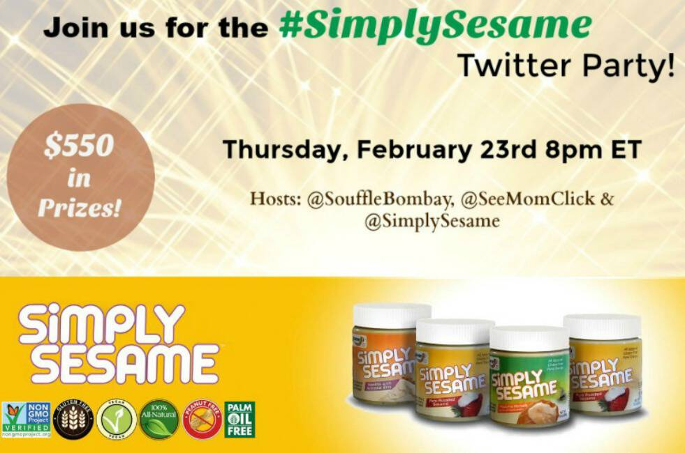 Join me at the #SimplySesame Twitter Party on February 23 at 8pm ET for your shot at winning $550 in prizes! Tasty and healthy. We are in love!