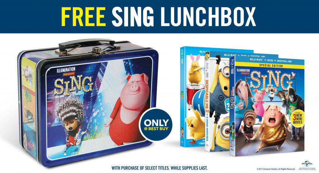Best Buy is currently offering a movie deal worth singing about! Get a free SING lunchbox with the purchase of select DVDs!