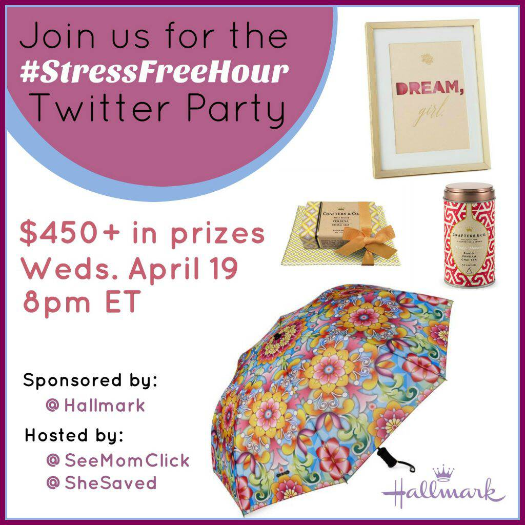 April is Stress Awareness Month & we're chattingt about how to relieve it and celebrate YOU! Join us for the #StressFreeHour Hallmark Twitter party!