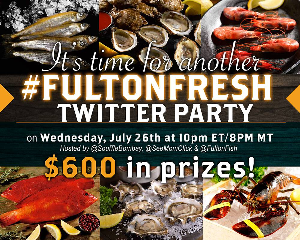 Join us for the #FultonFresh Twitter Party on July 26, 2017 for your shot at $600 in fresh seafood prizes delivered to your door!
