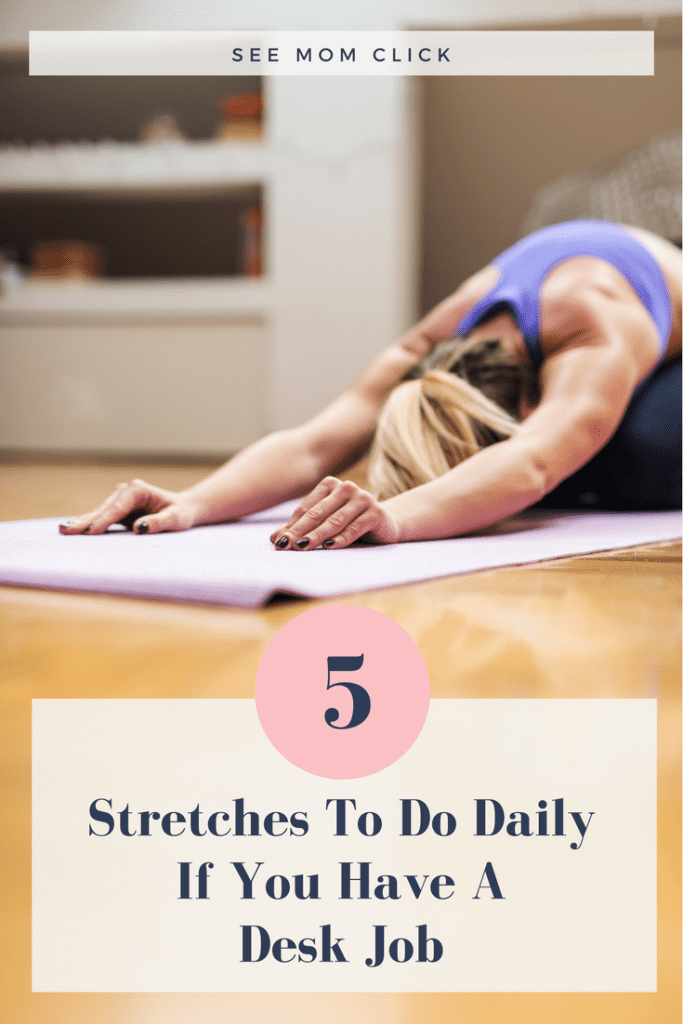 If you spend most of your day sitting at a computer, you might have some tight back and neck issues going on. I know I did (which landed me in physical therapy). Here are 5 daily stretches for a desk job that my PT has recommended to work out tightness and pain in my upper back and neck. They really work (the 1st one is my favorite!).