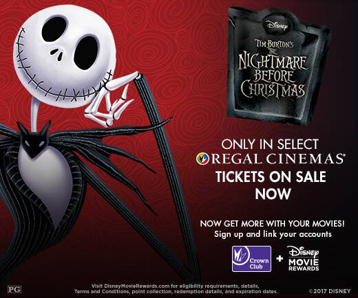 Take the family to go see The Nightmare Before Christmas in theaters Halloween weekend! It's returning for just a few days to Regal Cinemas!