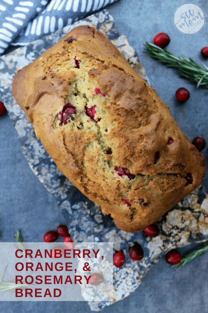 This Cranberry, Orange and Rosemary Bread recipe is easy to make and jam packed with flavor. It's perfect for the holidays and as pretty as it is tasty!