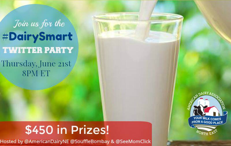 Join us for the #DairySmart Twitter Party on June 21 at 8pm ET where we're dishing about all the benefits of dairy, plus we have prizes - $450 worth!