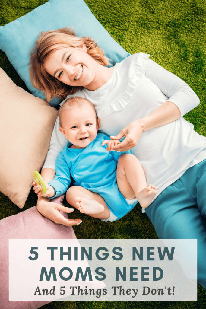 There are so many baby products now. It's hard to know what is worth buying. Here's my veteran-mom advice on 5 things new moms need (+ what you don't)! #parenting #motherhood #babies #baby